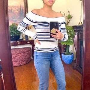 EUC Off the Shoulder Ruffle Striped Ribbed Top
